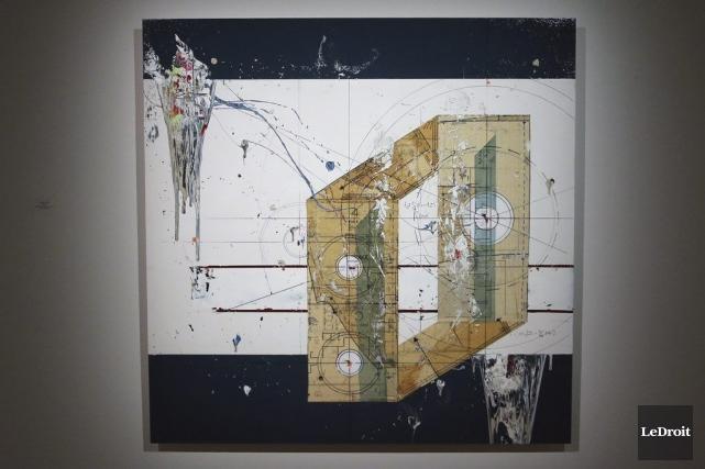 Comp 398 et les autres nouvelles toiles d'Étienne Gélinas jouent avec l'ambiguïté des perspectives. PATRICK WOODBURY, LEDROIT